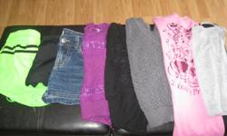 lot of GIRLS summer clothes Size Small (7/8) Includes: 1 pair of jean shorts 3 pairs of shorts 1 Disney princess t-shirt 1 grey tank top 1 black top 1 3/4 grey light sweater 1 purple tank top 1 black/grey tank top Get ALL 10 items for ONLY $25 works out