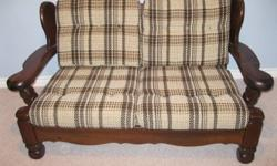 We are downsizing and must sell this Love Seat and Chair with Ottoman as quickly as possible.  The frames are made of pine with overstuffed cushions in a light plaid pattern.  Great for cottage or rec-room.  If interested, please call Lawrence at