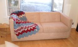 Sofa bed hardly used maybe 3 times. Tweed fabric Measures 68 inches wide