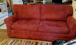 I have a high end Simmons Love seat sofa bed for sale. Pet free, no sagging, very comfortable. The couch is a rust colour. Dimensions 6 ft long, 88 inches when fully extended with bed open. Couch and bed is in excellent shape, hardly used. Bed comes with