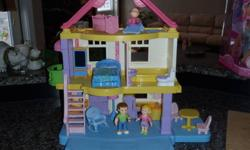 Stage 1-Loving Family Doll House. Excellent condition, just outgrown. Comes with mom, dad, baby, baby crib, high chair, baby chair, bed, lamp, toilet, kitchen, kitchen table and chairs.