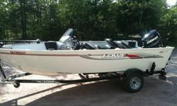 New boat. Less than 50 hours. 5 Year extended warranty on motor. 75HP Evinrude E-TEC motor, 16.5' Aluminum boat, trolling motor and trailer package for 18,000. Call Tim 705-493-2561