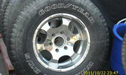 Nice set of 6 bolt Chev or Gmc Rims and tires. Rims are in very good condition, tires are used see pics. Will fit most Chev or Gmc's from late 90's to early 2000 and more. Caps and lug nuts included.