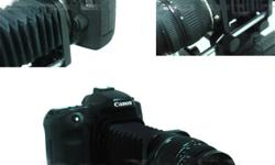 Macro Photo Extension Bellows for Canon EOS enable a lens to focus closer than its normal set minimum focusing distance. Getting closer has the effect of magnifying your subject (making it appear larger in the viewfinder and in your pictures). They are