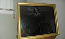 """EXCELLENT CONDITION, LGE. WOOD FRAMED MIRROR 31 1/2"""" X 25 1/2"""" WITH 2 1/2"""" FRAME. ORIGINAL BROWN PAPER BACKING WITH TICKET OF ORIGIN. MIRROE EXCELLENT, NO CRACKS, SCRATCHES ETC.  ALSO HAS TWO METAL HOOKS TO HANG MIRROR EITHER HORIZONTAL OR VERTICAL."""