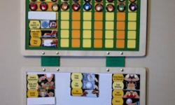 Catch children in the act of behaving well and reward them with a magnet on their hanging chore chart . . . then watch those good habits multiply! Open the fabric-hinged boards to reveal a behavior chart on one board, while the other board keeps all the