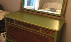 """Beautiful old Mahogany dresser. Partly painted. Label says: """"Blowey Henry Furniture Company- Edmonton."""" Reduced."""