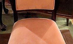 Thank you for your interest in our Side Chair. *Excellent condition *Suede fabric *Mahogany frame *Measures: 39 inches H, x 20 inches W, x 19 inches D Hours: * Tues 11 - 4 pm, * Wed & Thurs 11 - 7 pm (open nights), * Fri 11am - 4pm, * Sat 10am - 4pm (open