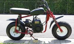 For sale is a Manco Thunderbird Minibike 3.5 HP Tecumseh engine in good running condition Has a brand new seat that is adjustable for different riding heights Has adjustable coil spring suspension, uses a scrub brake system Tires are in great shape with