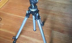 Full size Manfrotto Tripod, 190 Art Series with #222 pistol grip or flight stick style head. Telescoping legs are the super easy thumb twist style. Full size. Comes with Manfrotto carry bag. Will consider trades for old nikon film era manual lenses,