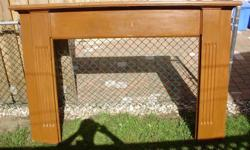 """Pine surround painted brown. To fit over hearth 71.5""""W 49.5""""H 8""""D Front opening 51""""H 39""""H If not bought soon will dismantle and use wood for other things! 54"""