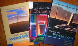 1st, 2nd and 3rd year Psychology, Biology/Environmental, and Chemistry texts for sale.  Negotiable on prices.  Many MINT  and GOOD Condition.  Complete list and prices inside.       Writing for Psychology 2nd Edition ................. $20 Mitchell, Jolley