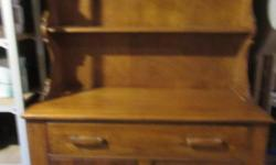 """Maple Sideboard Approx.42"""" wide/73"""" high/18"""" high 2 Shelves Cabinet drawer has a cutlery insert Bottom cupboard has interior shelf $225. C1950"""