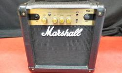 Marshall MG10 guitar amp, inventory #144856-2. Features a small headphone jack out and a small headphone jack in to play along with your favorite tracks on an mp3 player. Guitar amp is in very nice condition. Price of $75 includes all taxes. PLEASE REFER