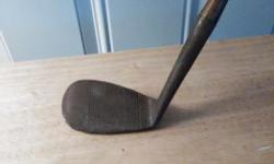 Mashie Niblick 7 iron, hand forged, made in Scotland, hickory shaft, name on blade George Hutchison.