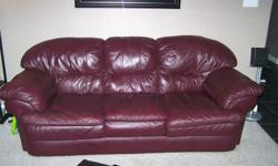 Authentic Burgundy Leather 3 seater couch, and matching 2 seater love seat for sale.  Only one owner, in great condition, bought originally in larger house, too big for current house.  Must sell and purchase something smaller.  Clean, comfortable, well