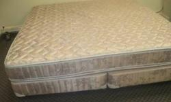 Simmons Beautyrest mattress and matching box spring + king size steel bed frame included No tears, like-new, used about 6 months in smoke free, pet free home To purchase contact me by email or contact me at 705-229-2962