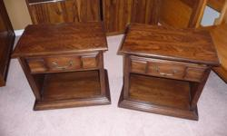 """two matching one drawer night tables, compressed with wooden trim and wooden drawers, in very nice condition, 24"""" wide X 16"""" deep X 23"""" high ... $40.00 each or both for $75.00"""