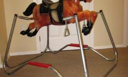 Mattel Spring Horse - Would make a great Christmas or Birthday gift for any boy or girl toddler - Durable and in excellent condition - Eyes move up and down - Has reins - MP brand on horse's rump - Step-up to mount into saddle - Wooden bar and metal