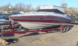Includes a color matched Tandem Axle Trailer with brakes, 5.0L 305 MerCruiser Engine with Alpha One Outdrive, Cockpit Cover, Kenwood Radio, Cuddy Cabin with Sink and Refrigerator, Depth Finder, Side Glass Tinted, Great boat! smooth, fast and lots of room.