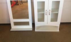 White Medicine Cabinet and Mirror. Excellent condition. Medicine Cabinet - 19-1/2 X 30-1/2 Mirror - 18 X 28