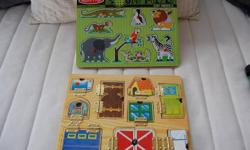 2 Melissa and Doug puzzles  10.00 each or 15.00 for BOTH Animal sounds one make the animal noise when you put the animal in the right space. It is in PERFECT condition. The other one is great for little hands. It is missing a few of the magnets and the