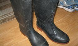 Men's Rubber Boots Black with red soles Size 9 Great condition Paid $29.99 for them ONLY $10 can meet in west end of Ottawa (Kanata) or pickup in Constance bay