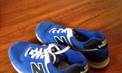 50.00 size 11.5, Bought too big - only worn a few times. Blue suede New Balance 574's excellent condition.