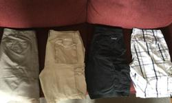 "Four pairs of cargo shorts. From left to right Wilson size 34, Bluenotes size 32, Quick Silver size 33 and Lee Dungarees size 33. They all fit a 32"" waist person."