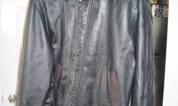 Men's black leather coat with brown accents in great condition. AND the exact same coat, but reversed colours... Men's brown leather coat with black accents in good condition.   Large size.   Soft sheep leather.   MAKE AN OFFER for one or both!
