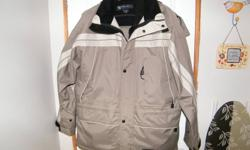 Great for Fishing, Ice Fishing, Motorcycle, ATV, Boat, Hunting Never Worn Taupe with Cream & Black Trim Jacket w Zip out full sleeve Black Liner Pant - Velcroe - Cuffs, Waist, Ankles Detachable Hood Numerous Velcroe pockets Paid  $179.00 + taxes