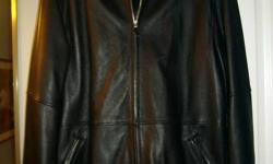 This mens leather jacket is in great shape hardly worn and has zip out lining.  It is made by Danier and  is marked an extra large in canadian sizes and 44-46 USA sizes.  It is quite a heavy leather but pliable so not stiff to wear.