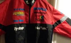 WON IT AT THE DRAG RACES (FIRST PRIZE) MADE OF 100 % POLYESTER 100% NYLON ONLY WORE IT THAT WEEK END DINNER ON THE RUNWAY COLD WATER WASH NEVER WASHED IT YET (STILL CLEAN) COOL JACKET $40
