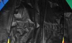 Men's Leather Jacket. Black. Made by R&R Size 46 Tall   has 2 big front pockets   In excellent condition... like new, only selling as doesnt fit   MAKE AN OFFER