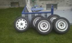 I have available 4 Mercedes Benz E320 winter tires along with a full spare tire AND all 20 bolts are included (the bolts are only for the winter tires).  The tires were used only for 2 1/2 months, and are in excellent condition. Specifications of tires: