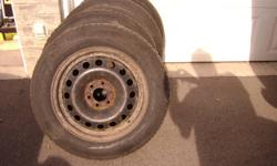 I am offering a set of 4 Michlin Lattitude X ice Tirs on rims as shown in pictures. Tire size is 215/65R17,Plenty of tread left on these tires. Tires where mounted on a 2006 Uplander, I beleive the bolt pattern is 6 X 115 (not positve). Reason for selling