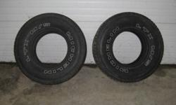 Tires are 80% tread & in excel. cond. $200.00 for the pair. Call 519-225-2528 Granton.