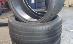 michelin pilot super sport. these 4 tires have about 70% left on the tread life. the rear tires are 295/30/19 and the front tires are 265/30/19. this price includes mount and balance and tax