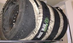 4 tires on rims, used less than 30,000 km, treads still good. Size: 235/65R17 - 108T