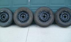 Winter's not far away & this set of 4 snow tires is just what you need to safely maneuver Manitoba's snowy/icy roads. These 185/70 R 14 Michelin snow tires are mounted on 114.3 steel rims, are nitrogen filled and are in great condition. At $300.00 for the