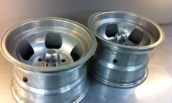 """Mickey Thompson 15x10 aluminum slot rims. 2 only. Ideal for drag slicks. GM bolt pattern. 4-3/4 5 lug. 4"""" back spacing. This ad was posted with the Kijiji Classifieds app."""