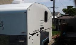Better than a tent trailer, no setup, no fabric to tear, drive in, plug in and you're set! Ultra lightweight at only 1300 lbs with all appliances (power converter, A/C, fridge, microwave, porta potti, portable table, Max/Air vent with fan, no shower) can