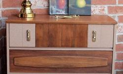 Fall IN LOVE with this elegant mid-century modern tall boy dresser! It is truly one of a kind ! Just redesigned and refinished. The top and the drawers were sanded down to raw wood then multiple layers satin poly was applied to bring out the beautiful