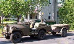 Military Jeep 1952 M38A1 with 30Cal. Machine Gun Mount, Top,Doors,Wire cutter,Original 24VDC, Antenna Mounts,Radio Plug passenger side,PRC-77, Radio Mounting tray with Antenna Elements and Coupler (Radio Working Order if you have Licence). Jeep has been