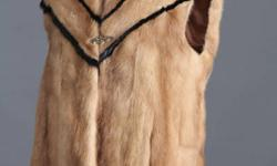Ladies Pastel Mink Vest with Black Mink Trim Length 28 inches Size 14 check out our other lovely designs www.andrewdunn.us/Furs