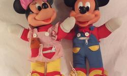 Pair of vintage 1980s Disney Mattel Minnie and Mickey Mouse Learn-to-Dress dolls Teaches dressing skills: zip, lace, tie, hook, button, buckle, velcro Minnie includes original teddy bear 15 inches tall; see photos for minor wear