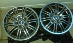 """Selling a pair of front 8"""" x 18"""" OEM style 67 BMW e46 M3 18"""" rims/wheels. Came off 2003 BMW e46 M3. Rims are in perfect mint condition - no scratches or chips. They are not replicas. Offset = ET 41 mm 18""""x8"""" 8"""" width, 18"""" rim. Still available if ad is"""