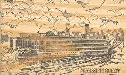 """Mississippi Queen Steamboat wooden postcard! This solid 1/4"""" thick all-wood postcard has a classic image of the Mississippi Queen on the front and has been hand cancelled. The postmark is blurry but from the postage stamp I would say this is from the"""