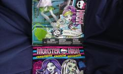 """BRAND NEW, still in sealed box, never displayed or removed from box, Monster High Ghoul Sports Spectra Vondergeist Doll. Plus Free bonus 2014 brand new book """"Monster High Fangtastic Fashion Designer, Stickers Included"""". Spectra Vondergeist doll also comes"""