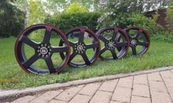 19 in rims. Used for a month, practically new! Brand: Motegi Racing Color: Black with red stripe Quantity: 4 pieces Price: 1,400 or best offer Bolt pattern: ten holes that fit a five bolt pattern Please feel free to contact me if you have any further